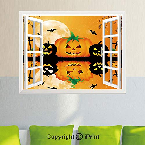 Open Window Wall Decal Sticker,Halloween Decorations,Spooky Carved Halloween Pumpkin Full Moon with Bats and Grave Lake,Orange Black,35.4X 23.6inch,Removable Wall -