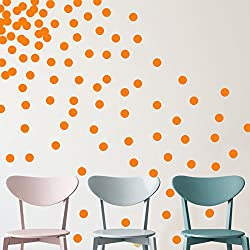 "YINGKAI Set of 80pcs 2"" Removable Orange Vinyl Polka Dot Wall Decor Wall Decals Round Circle Dots Art Peel & Stick Wall Stickers For KidsGirls Room Nursery Room Bedroom Living Room Decoration"