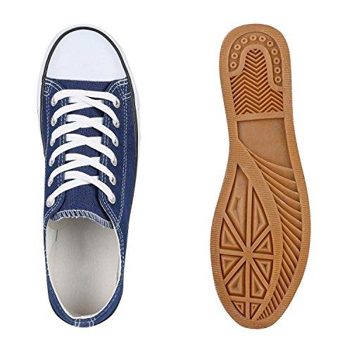 Stiefelparadies Damen Herren Unisex Sneakers Low Canvas Schuhe Stoffschuhe Freizeit Camouflage Schnürer Schnürschuhe Flats Denim Übergrößen Flandell Blau Denim