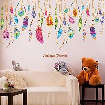 Pegatina Vinilo plumas atrapasueños decoracion paredes o cristal ...