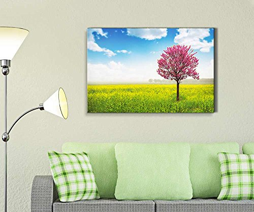 Pink Tree in Yellow Field and Blue Sky