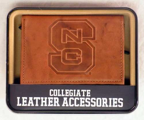 NCAA North Carolina State Wolfpack Embossed Leather Trifold Wallet