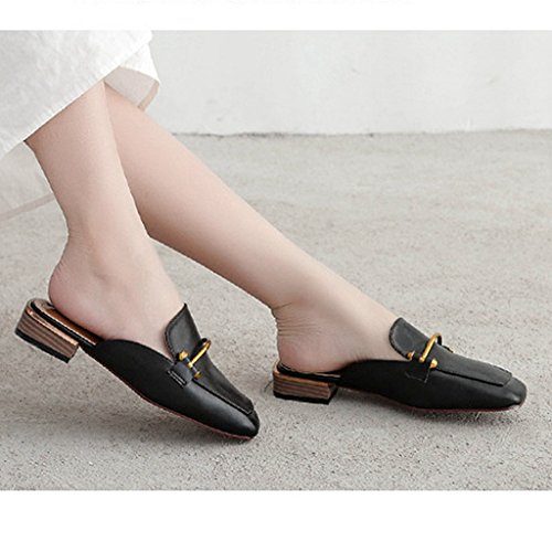 Shoes Round Slippers Backless On Slides Slip Womens Leather Mules Toe GIY Faux Black Flats Loafers 0wxFp4qYO