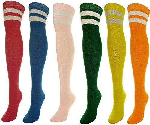 J.Ann 6-Pair / Pack Over-Knee-High Color w. 2 Stripes, Size:9-11 Pastel - Pastel Color Stripes