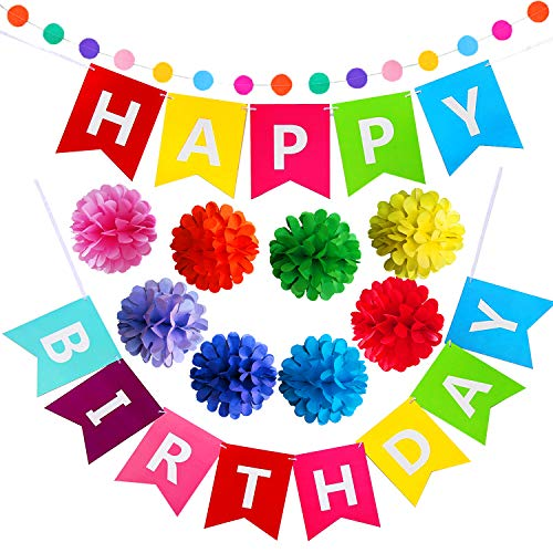 Happy Birthday Banner with Colorful Paper Flower and Rainbow Garlands for All Birthday Party Decorations -