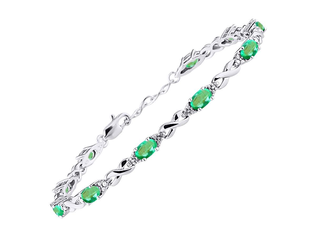 Stunning Emerald & Diamond XOXO Hugs & Kisses Tennis Bracelet Set in Sterling Silver - Adjustable to fit 7'' - 8'' Wrist