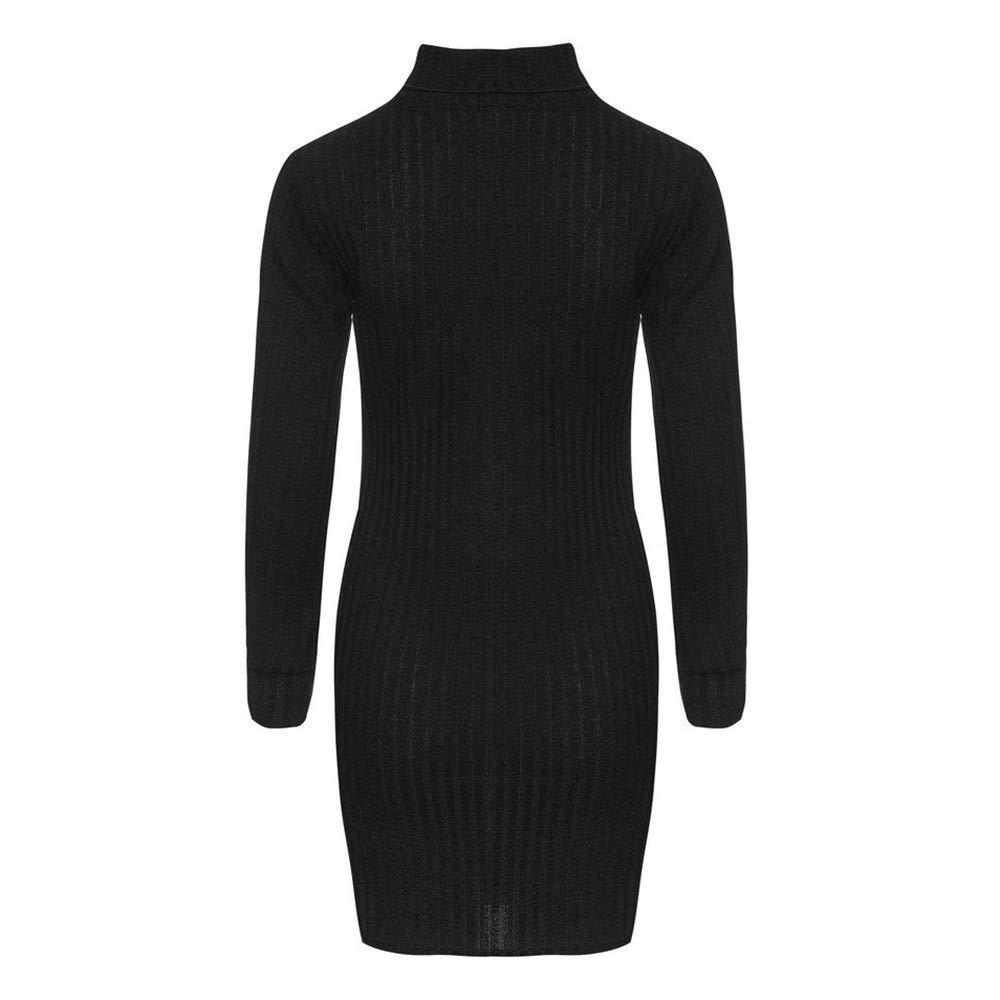 Sunmoot Women Sweaters Dress Casual Long Sleeve Solid Jumper Turtleneck Pullovers