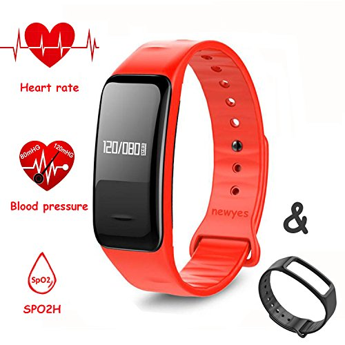 NEWYES Blood Pressure Smart Watch Fitness Tracker NBS04 Bracelet with SPO2H Heart rate monitor Sleep Management Pedometer with OLED Touch Screen for Android iOS Smartphone (Black-Red)