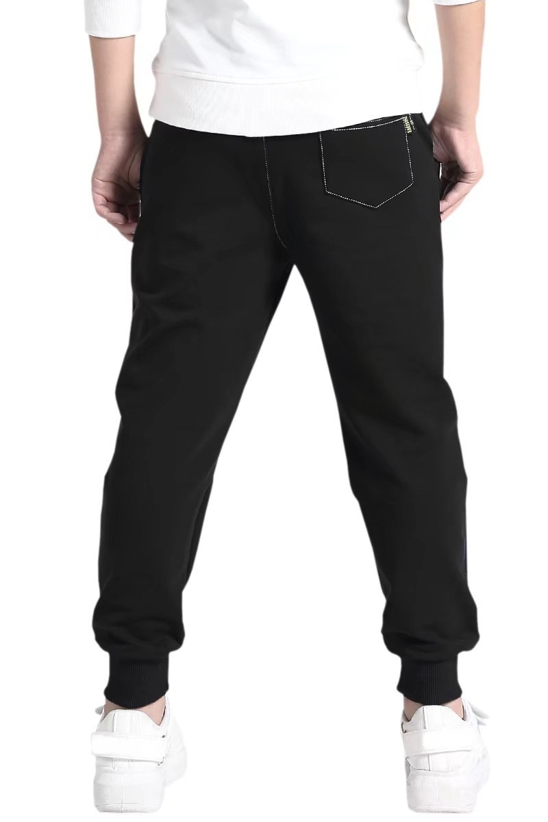 AOWKULAE Boys Cotton Fleece Active Pull On Joggers Pants Sweatpants Black, Age 5T-6T (5-6 Years) = Tag 130 by AOWKULAE (Image #2)