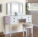 Tri-Fold White Vanity Makeup 3 Mirror Table Set Dresser Drawers Stool Bedroom