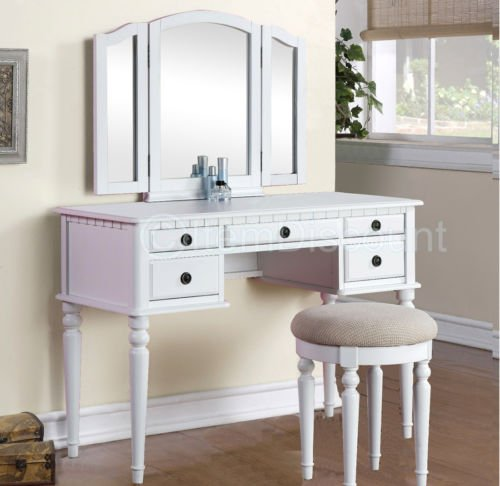 Tri-Fold White Vanity Makeup 3 Mirror Table Set Dresser Drawers Stool Bedroom by Unknown