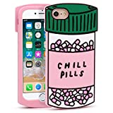 YONOCOSTA iPhone 7 Case, iPhone 8 Case, Funny Cute 3D Cartoon Capsule Bottle Chill Pills Soft Silicone Case Shockproof Back Cover for iPhone 7/ iPhone 8 (4.7' Inch) (Pills)