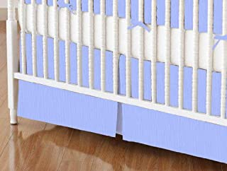 product image for SheetWorld 100% Cotton Percale Crib Skirt 28 x 52, Solid Blue Woven, Made in USA