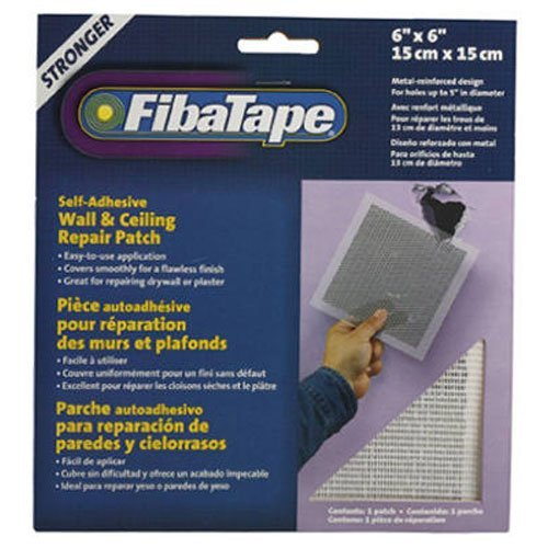 FibaTape 6 inch x 6 inch Self Adhesive Perforated Aluminum Wall and Ceiling Repair Patch (Tape Perforated Drywall)