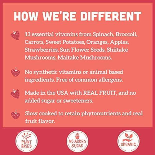 Llama Naturals Plant Based Vitamin Bites (Kids); Organic; No Added Sugar, Sweeteners or Synthetics; Vegan Multivitamin Gummies (C, D3, B12, Folate & More); 60 Real Fruit Bites (30 Days) (Strawberry) 4