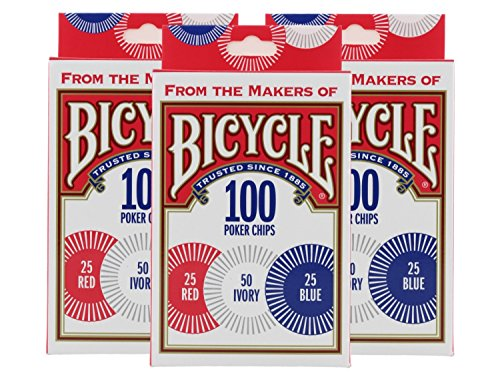 Bicycle Poker Chips - 100 count with 3 colors (3 Pack)