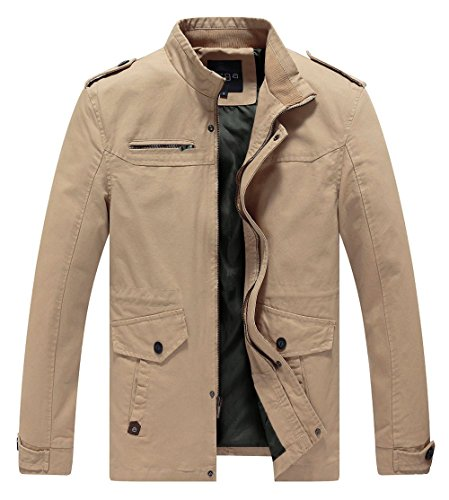 Lega Mens Cotton Classic Pea Coat Spring & Fall & Winter Ourdoor Jacket(Khaki/US Small/Asia 2XL)