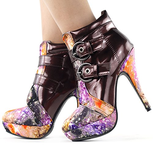 Brown Punk Boots LF30301 Buckle Ankle Stiletto Sky SHOW High STORY Night Heel Platform 7q1n46