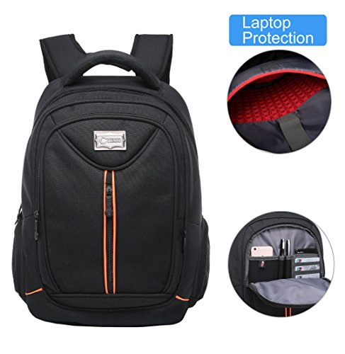 Crosslandy Laptop Backpack for Men Women Work Backpacks Fit 15.6 Inch Laptop Travel College Bookbag Water Resistant Black