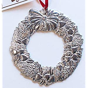 878 Wreath Holiday Christmas Ornament Pewter 1