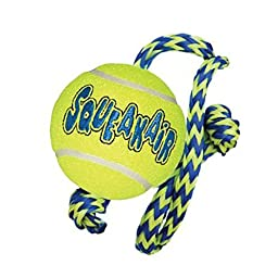 KONG Squeakair Tennis Ball with Rope Dog Toy, Medium, Yellow [2-Pack]