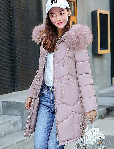 ZHUDJ Women'S Down Coat,Simple Going Out Casual/Daily Solid-Polyester Polypropylene Long Sleeves XL-Blushing Pink