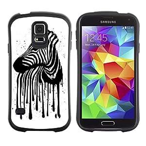 Hybrid Anti-Shock Bumper Case for Samsung Galaxy S5 / Zebra Stripes Art painting