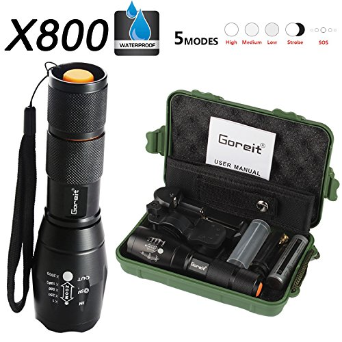 Goreit X800 Military Zoomable Ultra Bright 900 Lumens Hiking Flashlight ,Handheld XM-L T6 Rainproof bicycle Flashlight,Ajustable Focus,with 18650 Battery Charger,360°rotation bike mount