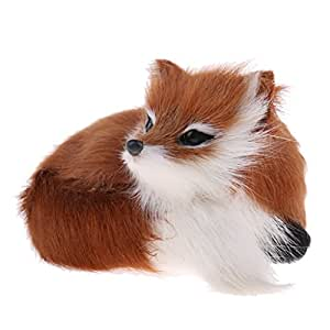 MagiDeal Lifelike Crouched Wild Fox Stuffed Pet Animal Plush Doll Figures Model Toy Kids Gift Home House Decoration