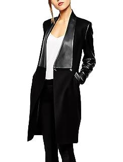 7ce6222a540f Mantel Damen Lang Spleiß Leder Coat Langarm Revers Slim Fit mit Taschen Jungen  Schöne Elegante Fashion