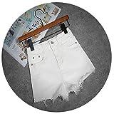 New White Celana Pendek Wanita Casual Fashion Short Jeans Cintura Alta Tassel Denim High Waist Black Shorts C2328,White,XL