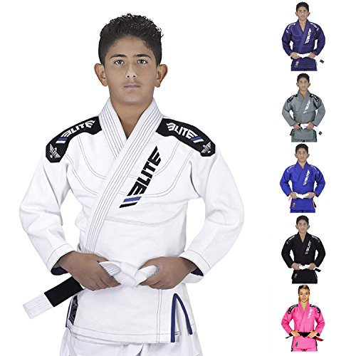 Elite Sports Ibjjf Ultra Light Bjj Brazilian Jiu Jitsu Gi for Kids with Preshrunk Fabric and Free Belt C0, White