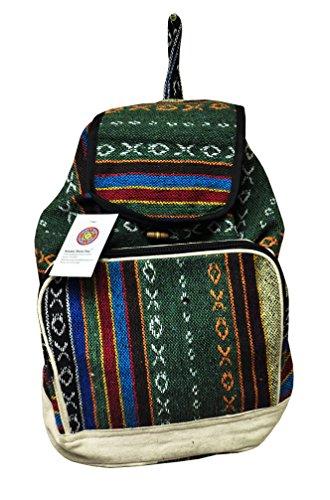 Green Striped Backpack (Mandala Tibetan Shop Men Women Bohemian Striped Hippie Messenger Backpack (Green Bohemian))