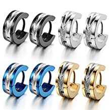 Oidea 8pcs Wholesale Mens Punk High Polished Shiny Stainlss Steel Hingie Hoop Earrings