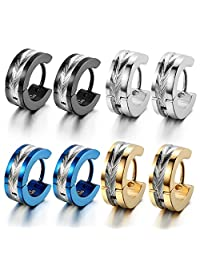 Oidea 8pcs Wholesale Mens Punk High Polished Shiny Stainlss Steel Hingie Hoop Earrings