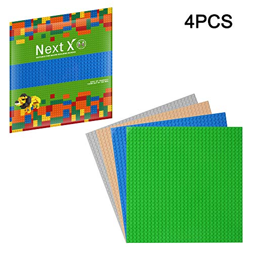 10 Inch x 10 Inch CLOURF Double Building Baseplates//Peel-and-Stick Baseplates Compatible with Most Major Brands Double of Building Bricks