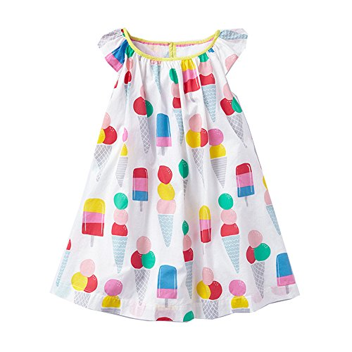 (VIKITA Toddler Kid Girls Summer Casual Flower Short Sleeve Cotton Dress MS0301)