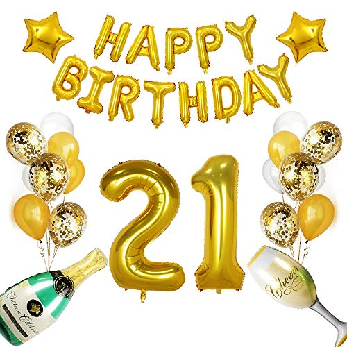 21st Birthday Decorations Party Supplies,21st Birthday Balloons, Gold 21 Balloons Number,21st Birthday Banner,21 Birthday Gold Balloons,21 Years Old Party Supplies and Gifts. (Gold 21 Balloons) ()