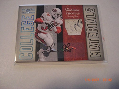 - Thurman Thomas 09 National Treasures Game Used Jersey Auto 06/10 Signed Card - Football Game Used Cards