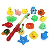 Nurbo Baby Girl Boy Kids Rod and Reel Fishing Bath Toy Set Magnetic Fishing Playset with 15 Fishes and 1 Pole