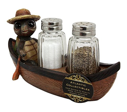 (Ebros Camper Turtle Zippy With A Hiker Hat Rowing Boat Salt And Pepper Shakers Holder Figurine With Glass Shakers 7