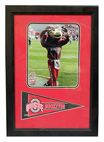 Encore Select 114-30 NCAA Ohio State Buckeyes Framed Ohio State University Print and Pennant Flag, 12-Inch by 18-Inch (Ohio State Framed Basketball)