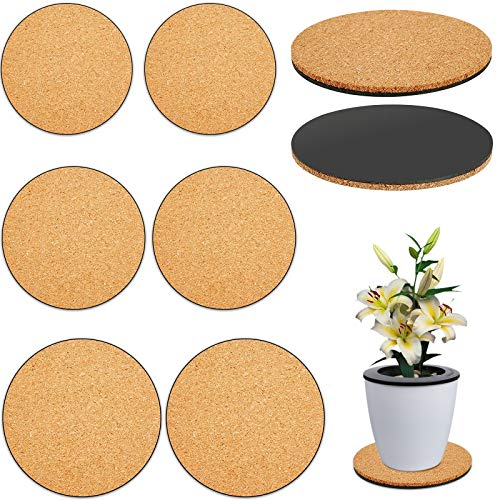 WZHHYY 6 Pcs Cork Plant Mats, Round Cork Mat Plant Coasters Use as Planter Coaster or Pads for Your Arts Crafts Projects…