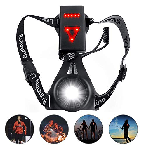 uniwood Outdoor Night Running Lights, Waterproof LED Chest Run Light, Safety Back Warning with USB Rechargeable Battery for Camping, Hiking, Running, Jogging, Outdoor Adventure