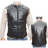 4Fit Men's Black Genuine Leather 10 Pockets Motorcycle Biker Vest S To 6XL (XL (CHEST 44''-46''))