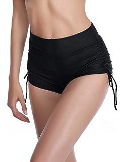 ba89afaf1d6 AXESEA Women s Rash Guard Swim Shorts Tankini Bottoms Slit Swim Beach Board  Shorts with Adjustable Ties