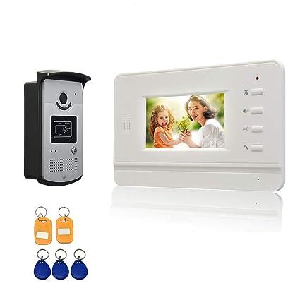 Nudito Kit Videoportero Estilo Plano y Fino, Interfono Intercomunicador (1 Monitor TFT LCD a color de 4,3