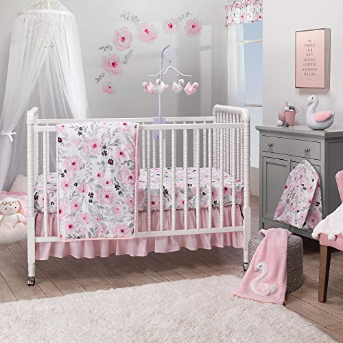 - Bedtime Originals Blossom Pink Watercolor Floral 3-Piece Baby Crib Bedding Set