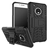 Chevron Tough Hybrid Armor Back Cover Case With Kickstand For Moto G5 Plus (Black)