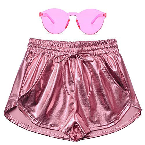 Perfashion Women's Pink Metallic Shorts Summer Shiny Yoga Elastic Waist Pants Matching with Glasses -